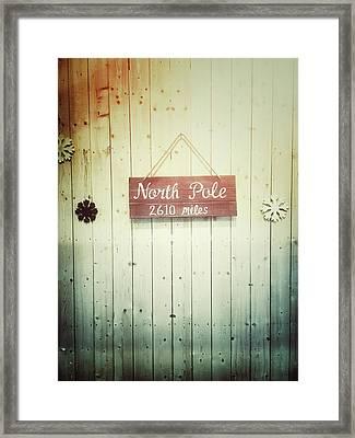 North Pole Sign Framed Print by Tom Gowanlock
