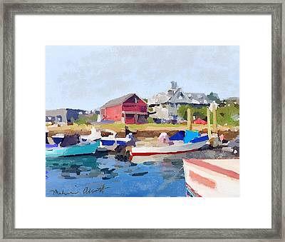 North Shore Art Association At Pirates Lane On Reed's Wharf From Beacon Marine Basin Framed Print by Melissa Abbott