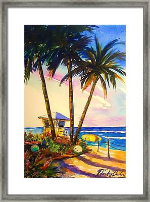 North Shore Lifeguard Hut Framed Print by Therese Fowler-Bailey