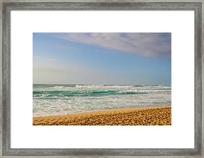 North Shore Waves In The Late Afternoon Sun Framed Print