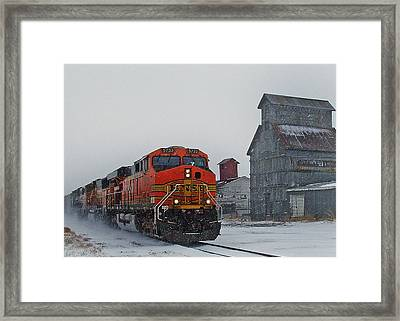 Northbound Winter Coal Drag Framed Print by Ken Smith