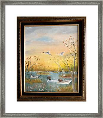 Framed Print featuring the painting Northen Pintails by Al  Johannessen