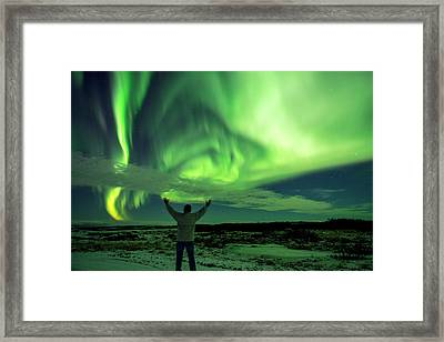 Northern Light In Western Iceland Framed Print by Dubi Roman