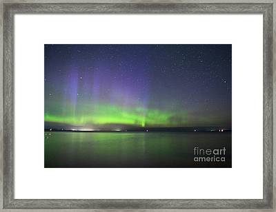 Northern Light With Perseid Meteor Framed Print