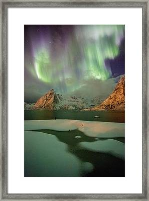 Northern Lights Above Olstinden Framed Print by Alex Conu