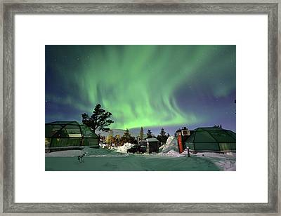 Northern Lights And Glass Igloo Framed Print