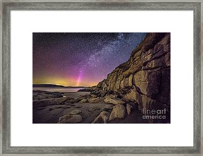 Northern Lights And Milky Way At The Cliffs On The Island Off Po Framed Print by Benjamin Williamson