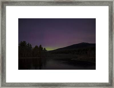 Northern Lights And Mount Monadnock December 2015 Framed Print by John Burk