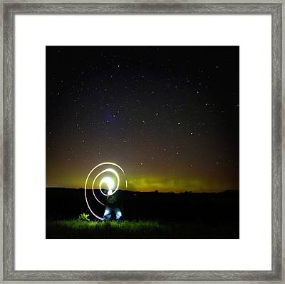 Northern Lights And Night Writing Framed Print