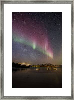 Northern Lights And The Milky Way Framed Print by Frank Olsen