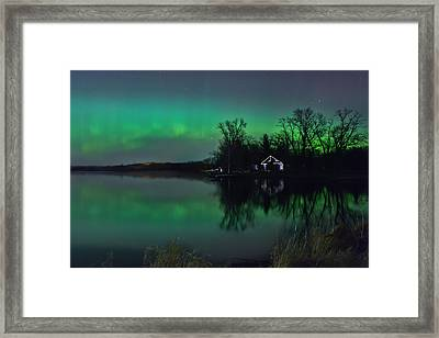 Framed Print featuring the photograph Northern Lights At Gull Lake by Susan Rissi Tregoning