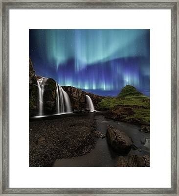 Northern Lights At Kirkjufellsfoss Waterfalls Iceland Framed Print by Larry Marshall