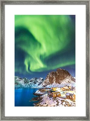 Northern Lights In Hamnoy Framed Print by Alex Conu
