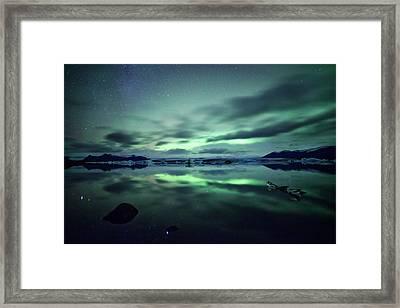 Northern Lights Over Jokulsarlon Framed Print by Matteo Colombo