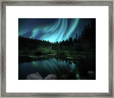 Northern Lights Over Lily Pond Framed Print