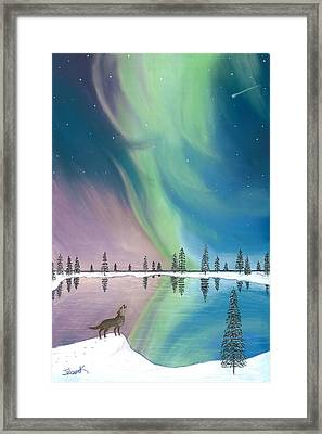 Northern Lights The Wolf And The Comet  Framed Print by Jackie Novak