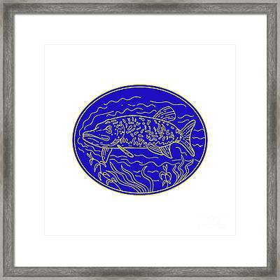 Northern Pike Fish Oval Mono Line Framed Print