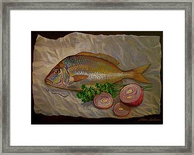 Northern Scup With Dill Onion Framed Print by Alan Carlson