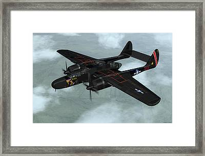 Framed Print featuring the digital art Northrop P-61 Black Widow by Walter Colvin