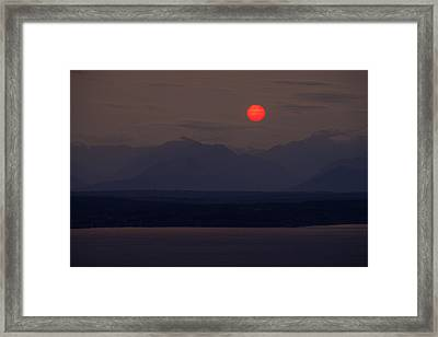 Northwest Red Sunset Over The Olympics Framed Print by Mike Reid