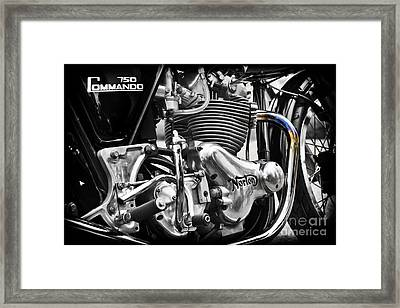 Norton Commando 750cc Cafe Racer Engine Framed Print by Tim Gainey