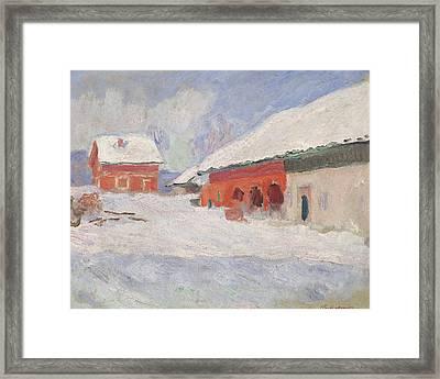 Norway, Red Houses At Bjornegaard, 1895 Framed Print