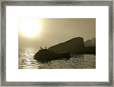 Norway, Tromso, Silhouette Of Pair Framed Print