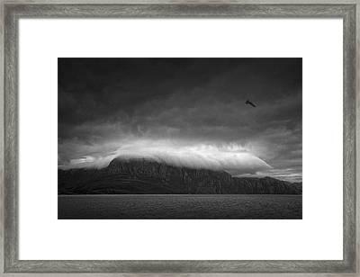 Norwegian Fjords, Carresed By Heavy Clouds! Framed Print by Ben Goossens