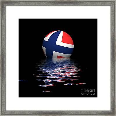 Norwegian Flag Rising/setting Framed Print