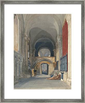 Norwich Cathedral - Interior Of The North Aisle Of The Choir, Looking East  Framed Print