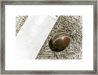 Nostalgic Cricket Bat And Ball Framed Print
