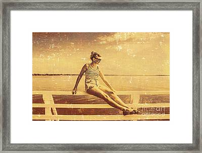 Nostalgic Pier Pinup Girl Framed Print