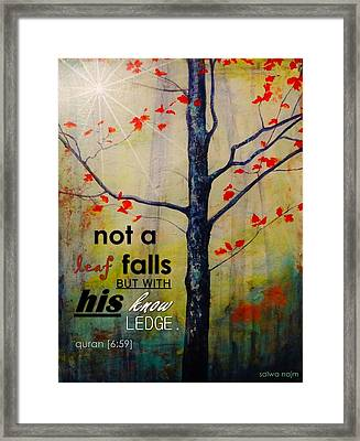Not A Leaf Falls Framed Print by Salwa  Najm