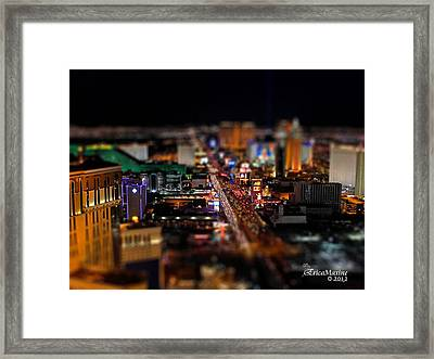 Not Everything Stays In Vegas - Tiltshift Framed Print