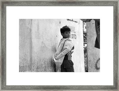Not Running Away Just Unsure Framed Print by Jez C Self