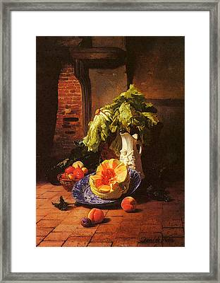 Noter David Emil Joseph De A Still Life With A White Porcelain Pitcher Fruit And Vegetables Framed Print by David Emile Joseph de Noter