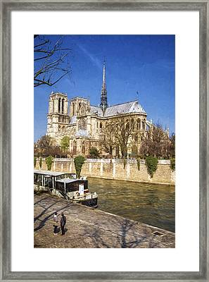 Notre Dame And The Seine Painterly Framed Print by Joan Carroll