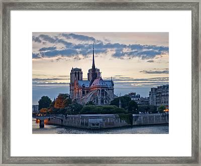 Notre Dame At Sunset Framed Print