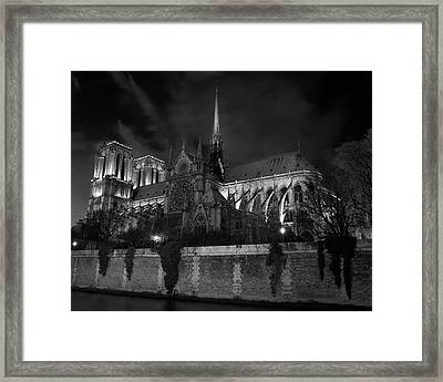Framed Print featuring the photograph Notre Dame By Night, Paris, France by Richard Goodrich