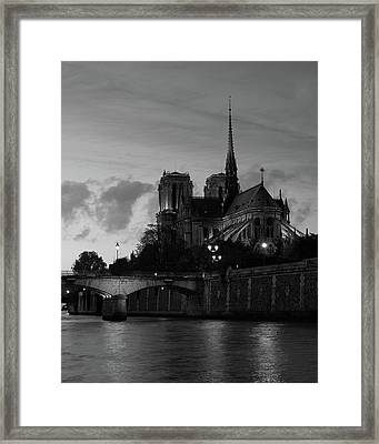 Framed Print featuring the photograph Notre Dame By Night by Richard Goodrich
