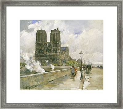 Notre Dame Cathedral - Paris Framed Print by Childe Hassam