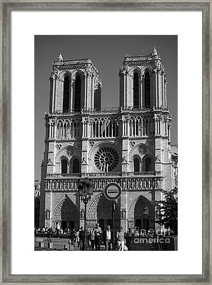Notre Dame Cathedral In Black And White Framed Print
