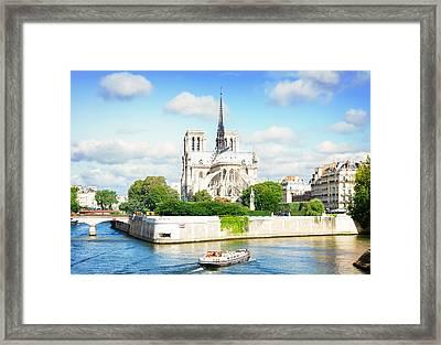 Notre Dame Cathedral, Paris France Framed Print