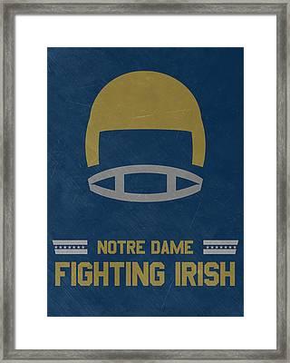 Notre Dame Fighting Irish Vintage Football Art Framed Print