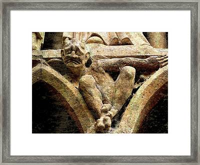 Notre Dame Gargoyle - Paris Framed Print by Jen White