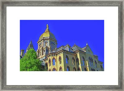 Notre Dame Golden Dome Framed Print by Dan Sproul