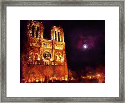 Notre Dame In The Autumn Moonlight Framed Print