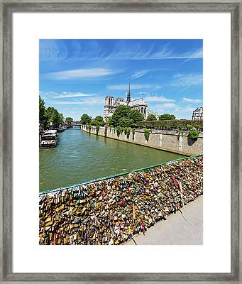 Framed Print featuring the photograph Notre Dame Love Locks by Melanie Alexandra Price