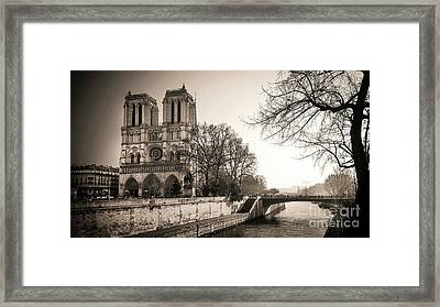 Notre Dame Of Paris And The Quays Of The Seine. Paris. France. City Framed Print by Bernard Jaubert