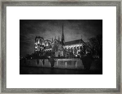 Notre Dame On The Seine Bw Framed Print by Joan Carroll